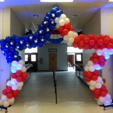 Lift Your Spirits Balloon Decor, American Flag Star - arches, McAllen, TX